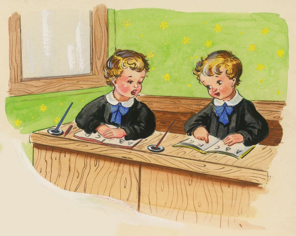 Two boys reading ABC book sitting at school desks, children's illustration, drawing